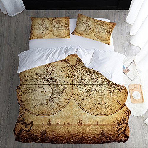Retro World Map Bedspread Quilts Queen Size 100% Cotton Bed Cover Fade Resistant 173 * 218cm 3 Pieces-1 Oversize Coverlet Set & 2 Kissen-Shams,Twin