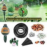FIXKIT Garten Bewässerung Kit, 120PCS 40M Bewässerungssystem + LED Display Wasser Timer, geeignet für Decks, Terrassen, Gewächshäuser, Gärten, Rasen usw