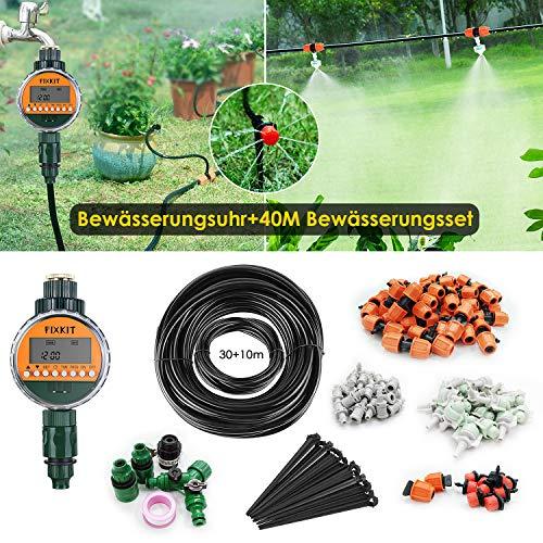FIXKIT Garten Bewässerung Kit, 120PCS 40M Bewässerungssystem + LED Display Wasser Timer, geeignet für Decks, Terrassen, Gewächshäuser, Gärten, Rasen usw -