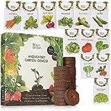 Gemüse Anzuchtset mit 12 Sorten und 24 Kokos Quelltabletten für Garten, Beet und Balkon: Premium Gemüse Samen Set mit torffreier Anzuchterde - OwnGrown Küchengemüse als praktisches Gemüsesamen Set
