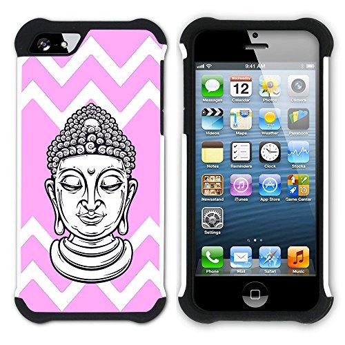 Graphic4You Buddha-Kopf Winkel Muster (Wasserblau) Hart + Weiche Kratzfeste Hülle Case Schale Tasche Schutzhülle für Apple iPhone SE / 5 / 5S Hell-Pink