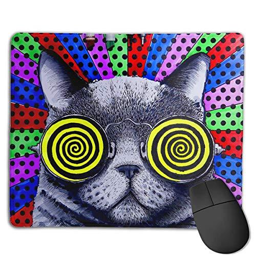 chfeste Gummi Gaming Mousepad (niedliche kurzhaarige Katze mit Brille) ()