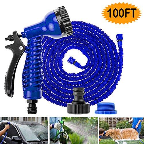 Erweiterbarer Schlauch Rohr 100FT mit 7Funktion Spray Gun Magic Garden Wasserschlauch flexibel blau für Bewässerung Reinigung Waschen Cars Pets (Waschen Spray Gemüse)