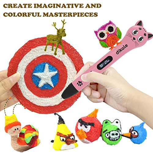 3D Stift Set für Kinder, 3D Stifte mit OLED Display, 2 x 7.5M PLA Filament + 20 Seiten Schablonen für Kritzelei, Basteln, Zeichnung, Kunstwerk, einzigartige Geburtstags-und Weihnachtsgeschenke für Kinder und Erwachsene (Ein-Tasten-Bedienung) - 6