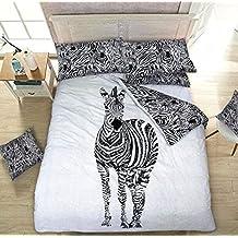 Juego de funda de edredón de impresión animal Reversible (Pilowcase de edredón y de almohada), Diseño de cebra, Doublé