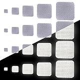 Tuqiang Quadratische Form Reflektierendes Klebeband Wasserdicht Selbstklebend Für Buggy und Kinderwagen Motorradhelm Hohe Sichtbarkeit Band Sicherheit im Freien Reflektierend Aufkleber 25 Stück Weiß