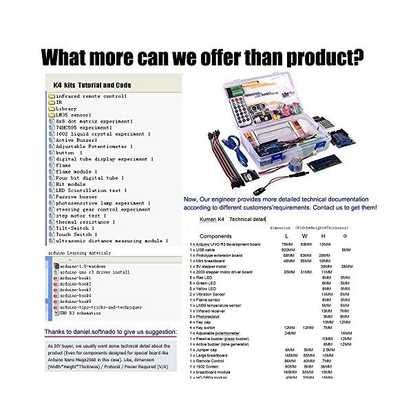61DL5D7pesL. SS600  - Kuman Más Completo y Avanzado de Arduino Mega Starter Kit para Arduino Uno R3 con Guías Tutorial Detallada, MEGA2560, Mega328,5V Motor Paso a Paso, Kit Arduino con Placa