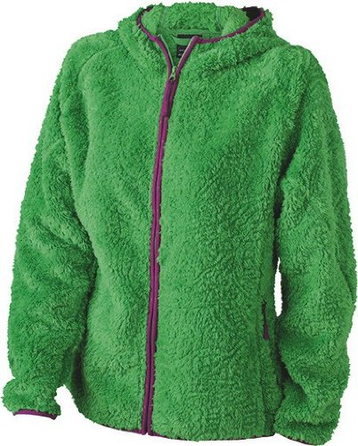 Ladies Highloft Fleece Kapuzenjacke in Kontrastfarben Green/Grape