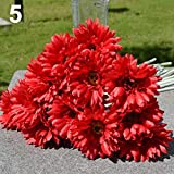 Amesii Kunstblumenstrauß aus Kunstseide, 1 Stück, als Deko für Hochzeit, Party, Zuhause, Garten rot