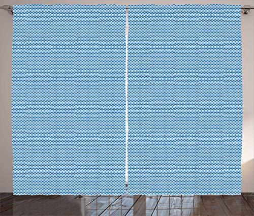 ABAKUHAUS Rahmen Rustikaler Gardine, Geometrische Arcs japanische Linie, Schlafzimmer Kräuselband Vorhang mit Schlaufen und Haken, 280 x 225 cm, Blau und weiß