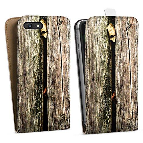 Apple iPhone X Silikon Hülle Case Schutzhülle Planken Moos Holz Look Downflip Tasche weiß