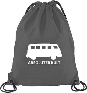 Shirtstreet24, ABSOLUTER KULT, Bus Turnbeutel Rucksack Sport Beutel, Größe: onesize,Dunkelgrau