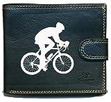 Portemonnaie für Herren, Fächer für Karten, Papiere, Motiv: Radfahrer