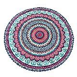 webla Indiano Mandala Telo Mare Rotonda con Frange Grande Spessa, Tappezzeria da Spiaggia Super Morbido Microfibra con Multiuso Hippie Tappetino Yoga Beach C