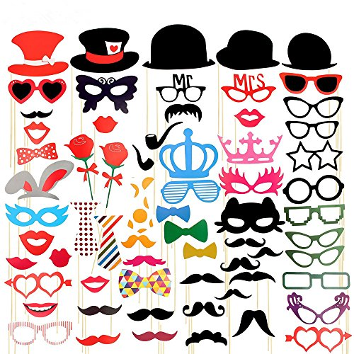 Imagen de zindoo 66 pcs mascaras y acesorios para fiesta diy photo booth props atrezzo favorecer self photographed accessories incluyendo bigotes, gafas, pelo, bigote, sombreros labios etc para el partido, boda, cumplea os y de la graduaciones y festivals