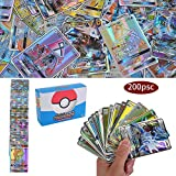 200 Pezzi Pokemon Carte, Pokemon Flash Carte, Carta Iniziale, Sun & Mood Series GX Carte Trainer Carte