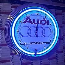 Neon Orologio Audi Quattro Bianco di garage Sign–Orologio da parete con luce blu neon Ring. Anche con altre Neon Colori disponibili.