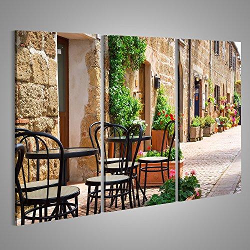 Bild Bilder auf Leinwand Kleines Restaurant durch Straße in der alten Italien-Stadt Verschiedene Formate ! Direkt vom Hersteller ! Bilder ! Wandbild Poster Leinwandbilder ! GSA (Bild Der Stadt)