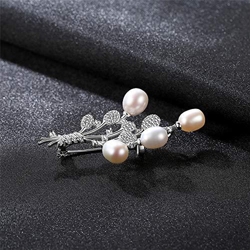 Verlassene Frau Kostüm - Peggy Gu schmuck 925 Silber Natürliche Perle Brosche Überzogen Zirkon Bedeckt Schal Schal Clip Für Erwachsene Frauen Damen Mädchen kostüm - Accessoire (Farbe : Weiß)