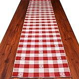 SeGaTeX home fashion Tischläufer Landhaus-Tischdecke Karo mit Edelweiß in Rot 40 x 160 cm Rot-weiß Kariert für Den rustikal-gemütlichen Landhaus-Stil