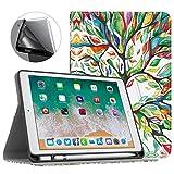 MoKo Hülle für iPad 9.7 2018 mit Apple Pencil Halter - Premium Lightweight Stoßfest Schutzhülle mit Auto Sleep/Wake up Standfunktion für Apple iPad 9.7 Inch 2018 Tablet (A1893 /A1954), Glück Baum
