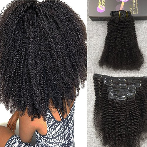 Moresoo 100% Remy Echthaar Afro Kinky Curly Clip In Extensions Echthaar Haarverlängerung Set Farbe Naturschwarz 1B 24 Zoll 7pcs/120g (24 Schwarze Clip In Haar Extensions)