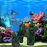 Berrose Aquarium Shantou Simulationsvulkan Steingarten Landschaftsgestaltung Aquariumdeko antike Tunnelruine Dekoration Aqua Ornaments, Piraten Totenkopf