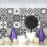 (24 Pieces) carrelage adhésif 20x20 cm - PS00063 - Ebony and Ivory - Adhésive décorative à Carreaux pour Salle de Bains et Cuisine Stickers carrelage - Collage des tuiles adhésives