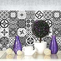 (72 PIECES) carrelage adhésif 10x10 cm - PS00063 - Ebony and Ivory - Adhésive décorative à carreaux pour salle de bains et cuisine Stickers carrelage - collage des tuiles adhésives