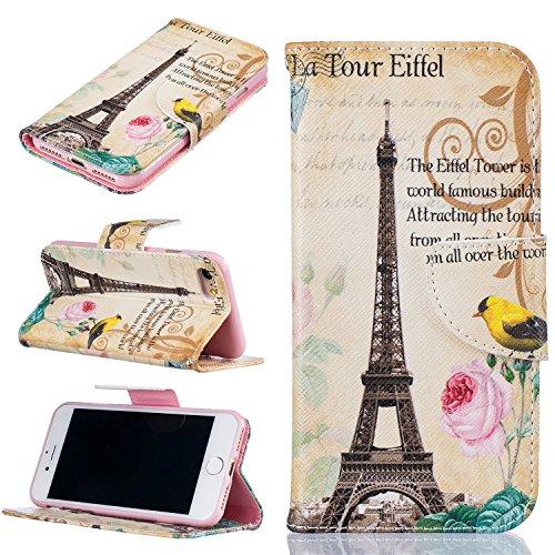 Ooboom® iPhone 5SE Coque PU Cuir Flip Housse Étui Cover Case Wallet Portefeuille Supporter avec Carte de Crédit Fentes Titulaire de Trésorerie pour iPhone 5SE - Os Tour Eiffel