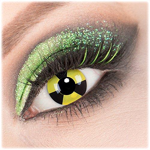 (Farbige Giftauge Radiate Crazy Fun grün schwarz muster Kontaktlinsen perfekt zu Fasching, Karneval und Halloween, Anime, Manga mit gratis Behälter und 60ml Pflegemittel Topqualität zu Karneval und Halloween und Anime Gothik Manga Cosplay Events)
