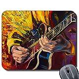 Tapis de Souris avec Base en Caoutchouc antidérapant pour Ordinateur Portable Mac Motif Guitariste Jazz 19 x 23 cm.