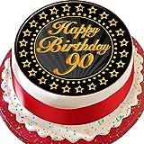 Cannellio Cakes 2019 Kuchenaufsatz zum 90. Geburtstag, vorgeschnitten, essbare Dekoration, 19,1cm, Goldfarben & Schwarz