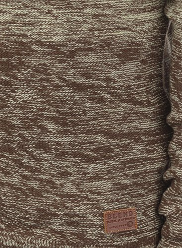 BLEND Bogotá 20702936ME Herren Strickpullover Rundhalskragen aus weicher Baumwoll-Mischung Meliert Mocca Mix (70816)