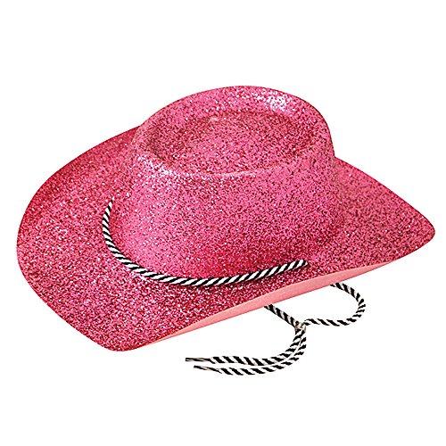 Western Gunman Kostüm - Bristol Novelty BH634 Cowboy Glitzer Hut, Damen, Pink, Einheitsgröße