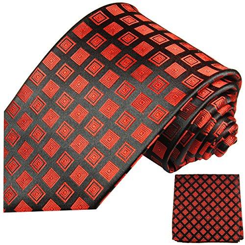 Cravate homme rouge noir carreaux ensemble de cravate 2 Pièces ( longueur 165cm )
