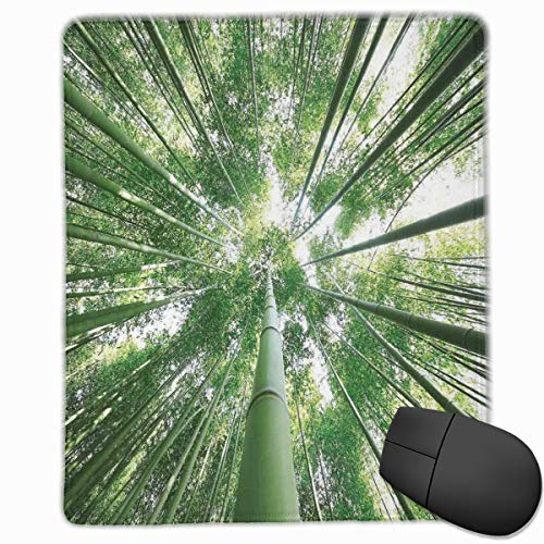 Mouse Mat Stitched Edges, Tropical Rain Forest Tall Bamboo Trees In Grove Exotic Asian Style Nature Zen Theme Image,Gaming Mouse Pad Non-Slip Rubber Base (Zen Office In)