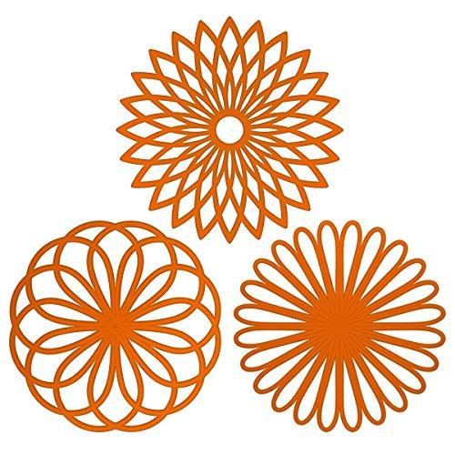 Silikon Multi Blume Topfuntersetzer (3 Stück) Premium Qualität Isolierter flexibel robust rutschfeste Hot Pads und Untersetzer Cup orange Hot-pad