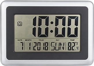 Yiruy LCD Digital Große Wanduhr Thermometer Tischkalender Zeit Alarm Elektronische Indoor Home Temperatur Meter