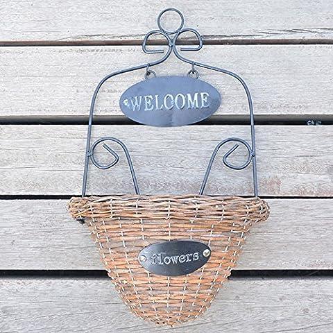 Lanlan Welcome Dekorative Pflanze Aufhängung Wicker Woven Wand aufhängen Korb Blumenhalter Home Garten Wand Hochzeit Dekoration, mit Eisen (24 Wire Shelf)