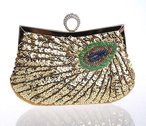 KLXEB Damen Handtaschen Aufnahmepaket Ringe Peacock Paket Manual -Paket Abendessen Paket Perle Stickerei Tasche Damen Hand Tasche, Cross-Party-Stil Kleine Pakete, Gold (Ring-stil-handtasche)
