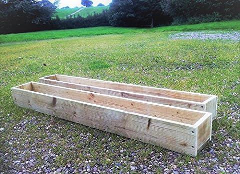 2x Extra Large 150cm de long (1,5m) en bois Jardin/terrasse/jardinière Pots de fleurs: Entièrement assemblé–Il suffit d'ajouter les plantes: Fast & Livraison gratuite