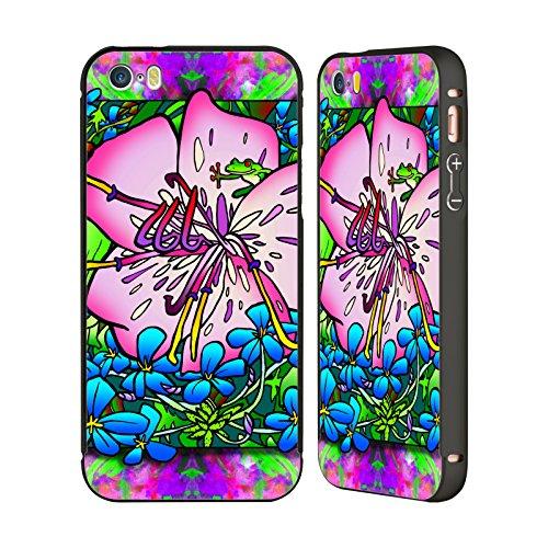 Ufficiale Howie Green Dipinto Fiori Nero Cover Contorno con Bumper in Alluminio per Apple iPhone 6 Plus / 6s Plus Rana Rosa