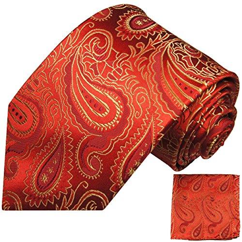 Cravate homme rouge or paisley ensemble de cravate 2 Pièces ( longueur 165cm )