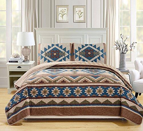 Western Southwestern Native American Tribal Navajo Design 3Stück Multicolor Beige Taupe Braun Blau Grün Oversize Tagesdecke Quilt Decke Set, 100 % Polyester, Beige/Blue/Brown/Green/Taupe, Queen (Western Decke Set)
