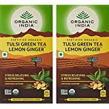 Organic India Tulsi Green Tea, Lemon Ginger, 25 Tea Bags - Pack Of 2