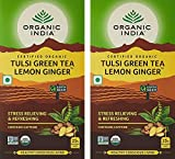 #1: Organic India Tulsi Green Tea, Lemon Ginger, 25 Tea Bags - Pack of 2