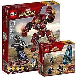 Lego Marvel Super Heroes 76104-Destruction du Hulk Buster + Lego Marvel Super Heroes 76101-Outrider Attaque Dropship