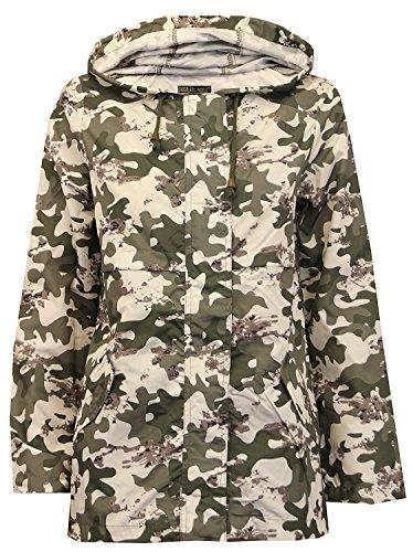 Neu Damen Tarnung Mac Regenmantel Auftauchen Hülse Parka Hooded Jacke Camouflage 52