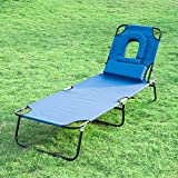 Outsunny Sun Bed Chairs Garden Lounger Folding Recliner Beach Camping Reading Patio Pool Lounge Chair Adjustment Blue Furnture + U Pillow Padded